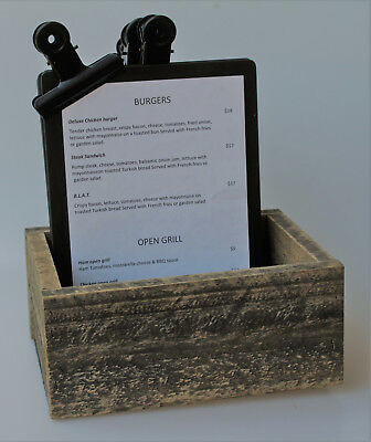 Set 4 x A5 Black Timber Board with Bulldog Clip in a cutlery box - table ready