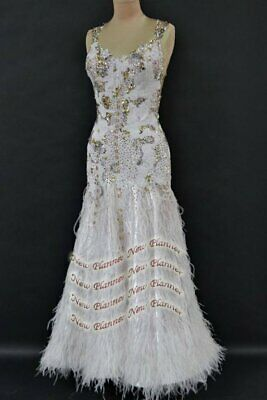 B7885 Feather custom made American Smooth Ballroom Competition Waltz Tango Dress