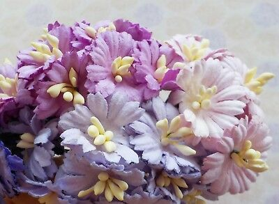 50! Mulberry Paper Cherry Blossom: Pastel Purple Lilac Flower Embellishments!
