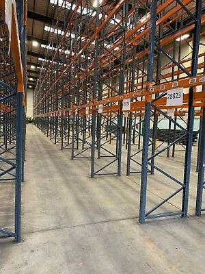 Pallet Racking, Industrial Warehouse Racking, 3 joined bays with 2 beam levels