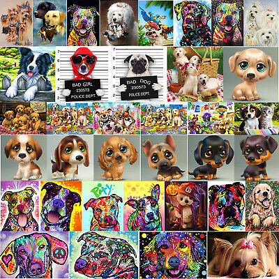 Full Drill DIY 5D Dogs All Diamond Painting Embroidery Cross Stitch Kit Craft AU