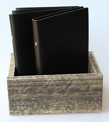 SET 4 X A5 Black Leather 2 Ring Binder IN A CUTLERY BOX