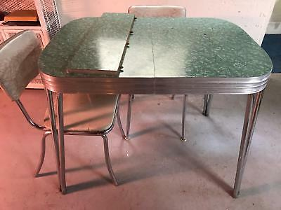 Vintage 1950s Formica Chrome Kitchen Table W 6 Chairs Extension