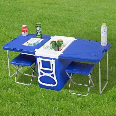 Multi Function Rolling Cooler/Esky With Table And 2 Chairs
