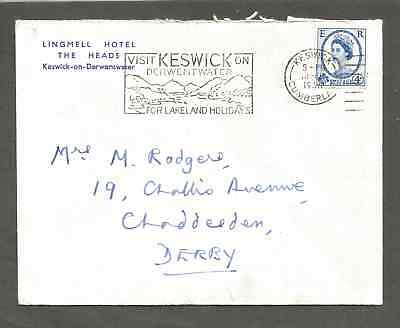 Lingmell Hotel The Heads, Keswich-on-Derwentwater 4d Stamp 1966 scarce Example