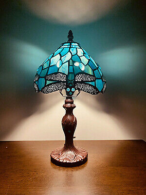 "14"" Tiffany Table Lamp Sea Blue Stained Glass and Crystal Bead Dragonfly"