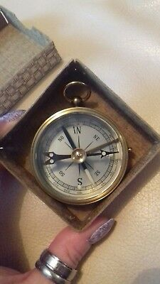 Vintage Boxed Brass Compass VGC From House Clearance
