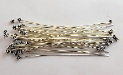 55 Pcs Ball On Twisted Rope Head Pin 20 Gauge 2 Inch Oxidized Silver Plated 836