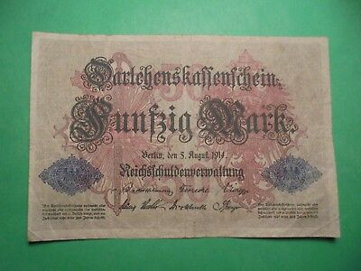 Ww1 50 Mark German Banknote Dated 5/8/14 One Day After Ww1 Started.