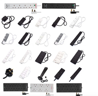 Surge Protected Extension Lead Trailing - Black/White Multi Plug USB Power Cable