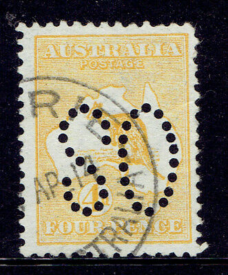 1913 4d Orange Yellow Kangaroo With Error Inverted Large OS Puncture