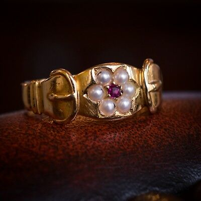 Late Victorian Ruby & Pearl Buckle Ring 18k Gold c1898