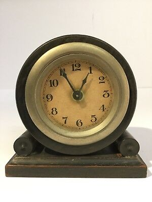 ANTIQUE CLOCK DRUMHEAD Mechanical EBONY CASE VICTORIAN c1880 Repairs Spares
