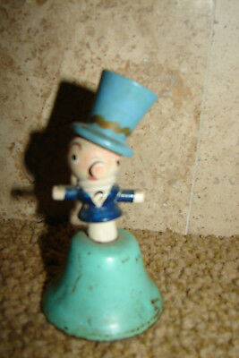 """Vintage Metal Bell With Wooden Man On Top 3 1/2"""""""