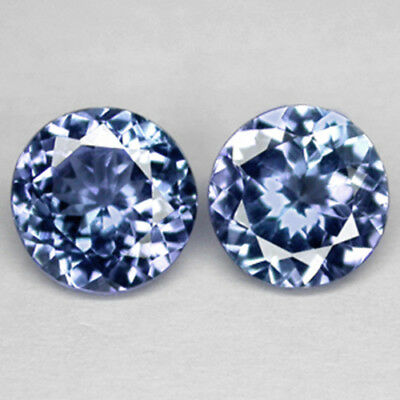 1.13Cts Excellent 5.4Mm Round Cut Natural Purple Blue Tanzanite Pair