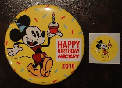 2018 Disney World Mickey Mouse Happy 90th Birthday Pin Button With Sticker