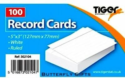 "Tiger Revision Flash Index Record Cards Students College Office 5''x 3"" Ruled Wh"