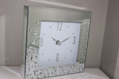 Large Mirrored Glass, Crystals And Glitter  Clock,free Standing