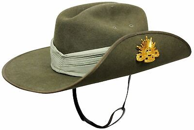 Australian Army Wool Felt Slouch Hat Rising Sun Badge Puggaree Chin Strap Siz 60
