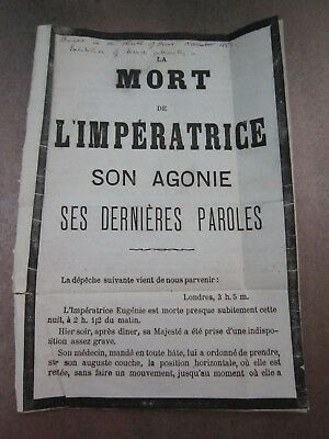 Paper Ephemera Document Notice The Death Of Empress Eugenie France French