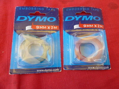 2 rolls Dymo embossing tape, 9mm x 2metres, Green and Red. Esselte Product.