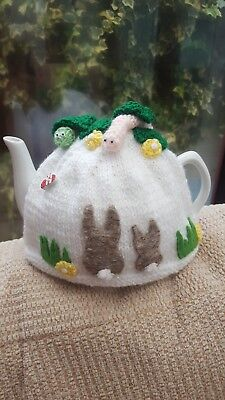 Handmade Knitted tea cosy. Spring garden bunny. By Poochy knits.