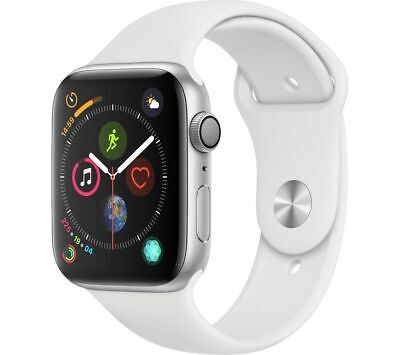APPLE Watch Series 4 - Silver & White Sports Band, 44 mm - Currys