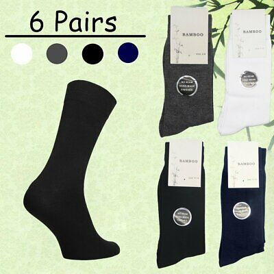 6 Pairs Mens Womens Soft Natural Bamboo Work Business Socks Odor Sweat Resistant