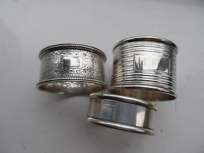 3 x  solid silver napkin rings in perfect condition.