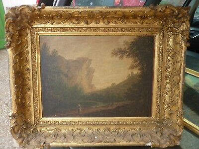 A Large Antique 18/19 Century Oil On Canvas Of A Country Landscape