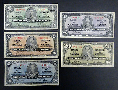 1937 Set of 5 Canadian Banknotes $1, $2, $5, $10 & $20 Rare Bills