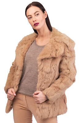 BETTY BLUE Rabbit Fur Short Coat Size IT38 / XS Collared Styled in Italy RRP€485
