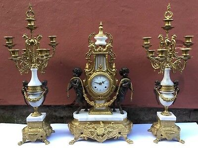 Louis XIV Style Marble & Gilt Brass Clock & Garniture - Imperial Italy - Runs -