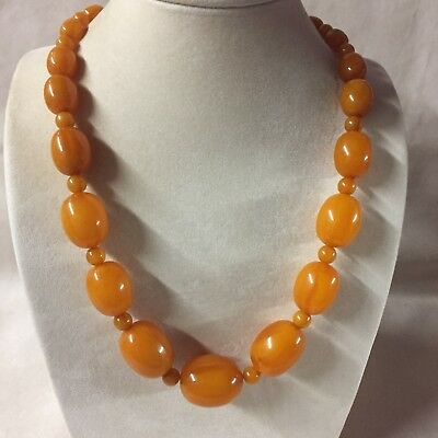 Vintage French Art Deco Galalite Amber Color Bead Necklace With 14k Gold Clasp