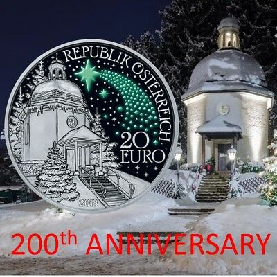 2018 SILENT NIGHT 200th ANNIVERSARY SILVER COIN AUSTRIA GLOW IN DARK CHRISTMAS!