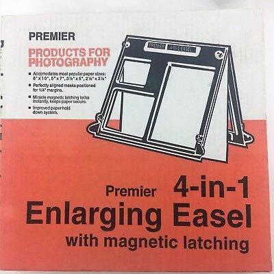 Vintage Premier 4 in 1 Darkroom Printing Easel Model ME-41 Magnetic Latching NEW