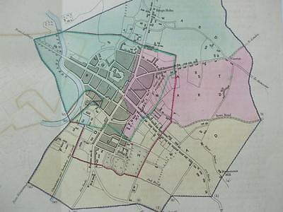 HAND COLOURED TOWN MAP R K DAWSON c1830s GLOUCESTER West East & South