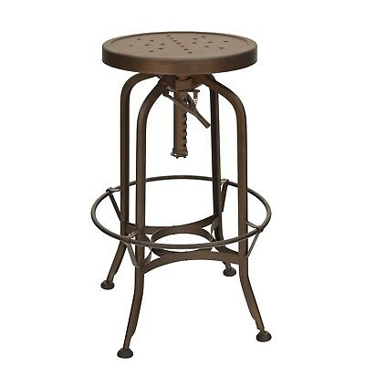 New Toledo Industrial Swivel Backless Bar Stool in Antique Rust