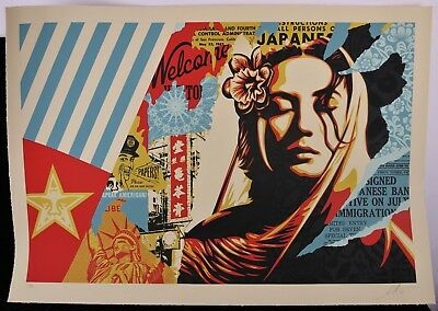 b5108908079 SHEPARD FAIREY signée WELCOME VISITOR Large Format Sérigraphie obey giant  2018