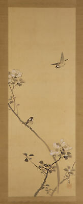 "JAPANESE HANGING SCROLL ART Painting ""Sparrows"" Asian antique  #E5710"