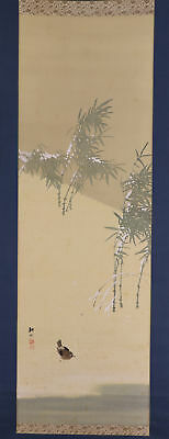 "JAPANESE HANGING SCROLL ART Painting ""Bird and Bamboo"" Asian antique  #E5711"