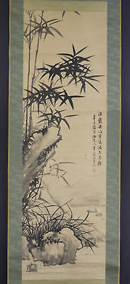 "JAPANESE HANGING SCROLL ART Painting ""Bamboo"" Asian antique  #E5737"