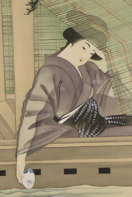 """JAPANESE HANGING SCROLL ART Painting """"Beauty on Boat"""" Asian antique  #E5715"""