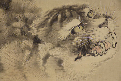 "JAPANESE HANGING SCROLL ART Painting ""Catty Tiger, Nekotora""  #E5727"