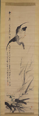 "JAPANESE HANGING SCROLL ART Painting ""Goose"" Asian antique  #E5725"