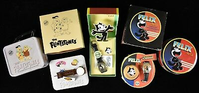 1993 Fossil Felix the Cat & Flintstones Wrist Watch Lot of 3 Original Box MIB