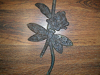 Vintage Cast Iron Dragonfly Flower Leaf Plant Wind Chime Hanger 17.5 Inch Long