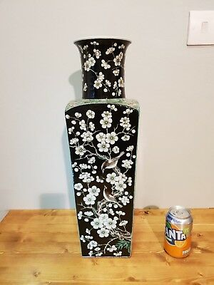 Impressive Huge Quality 19Th C Chinese Famille Noire Vase In The Kangxi Style