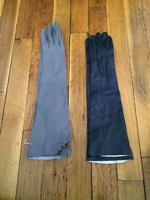 Vintage lot of gloves 2 pairs Christian Dior Trefousser kid leather elbow XS