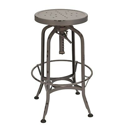 New Toledo Industrial Swivel Backless Bar Stool in Antique Gray